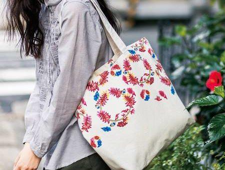 琉球の花シリーズ☆大きくて、いっぱいはいるトートバッグ